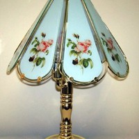 Antique Pink Rose Design Touch Lamp w/ 8 Glass Panels