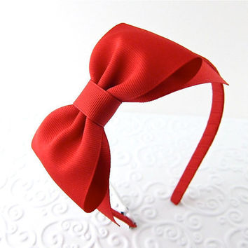 Red Bow Headband Snow White Costume Prop Pretend Play by snowbella