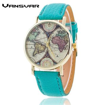 Vansvar Brand Fashion World Map Watch Casual Women Quartz Watch Relogio Feminino Gift 1539