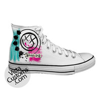 Blink 182 Rock Band Logo White shoes New Hot Shoes