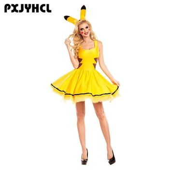 Halloween Pikachu Costume Women Fancy Dress Sexy Anime Cosplay Party Wear Girls Holiday Festival Dance  Clothes For AdultKawaii Pokemon go  AT_89_9