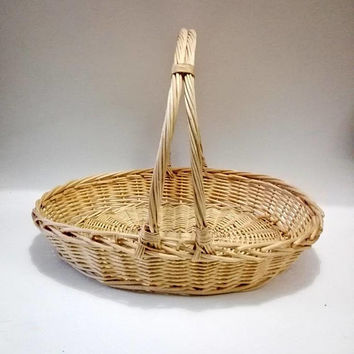 French, woven basket,  rustic basket, wicker basket, storage basket, kitchen decor, vintage basket, handmade basket, rustic, rustic decor