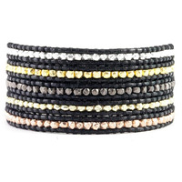 Chan Luu | Multi Nugget Sectioned Black Leather Wrap Bracelet