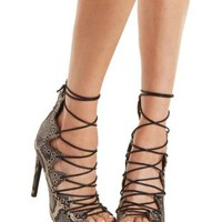 Gray Combo Grommet-Embellished Lace-Up Heels by Charlotte Russe