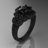 Art Masters Nature Inspired 14K Black Gold 1.0 Ct Oval Black Diamond Leaf and Vine Solitaire Ring R267-14KBGBD