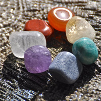 7 CHAKRAS Gemstone Set #1 Red Jasper, Carnelian, Citrine, Amazonite, Blue Aventurine, Amethyst, Crystal Quartz