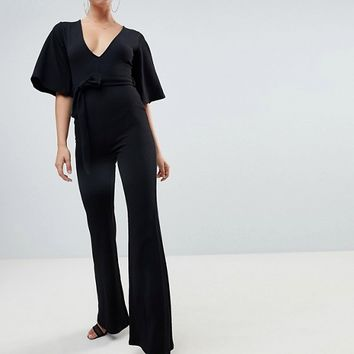 Missguided kimono sleeve plunge jumpsuit in black at asos.com