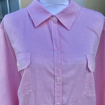 CROFT & BARROW Women's PLUS SIZE Striped 100% Cotton Button Up Blouse Shirt, Size 3X