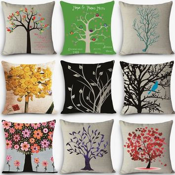 High quality decorative throw pillow customized HD tree Print Home Decorative Cushion Vintage Cotton Linen Square MYJ-G2