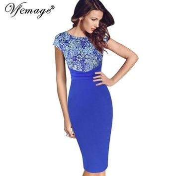 Vfemage Women Elegant Vintage Floral Crochet Frill Charming Casual Work Party Evening Special Occasion Sheath Bodycon Dress 4076