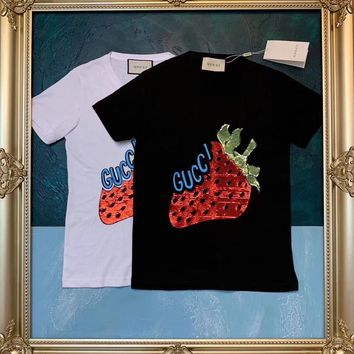 charmvip - GUCCI cotton T-shirt with Sequin strawberry