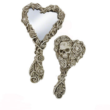 Alchemy Gothic The Vault  Fate of Narcissus Roses & Skull Hand Mirror