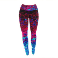 "Ebi Emporium ""Eternal Tide"" Red Blue Yoga Leggings"