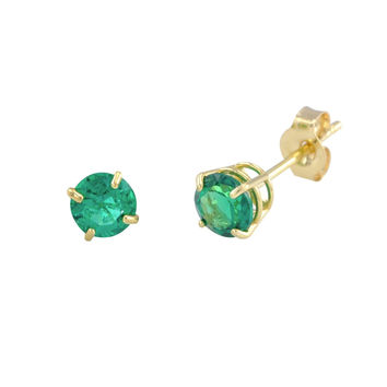 Emerald Gemstone Earrings 14k Yellow Gold Studs