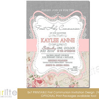 First Communion Invitation - Girl - burlap lace pink gray floral - 5x7 vintage style, typography, - unique communion invitation - You Print