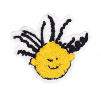 Cute Vintage Style Chenille Crazy Smiley Face Smile Patch Badge 9.5cm