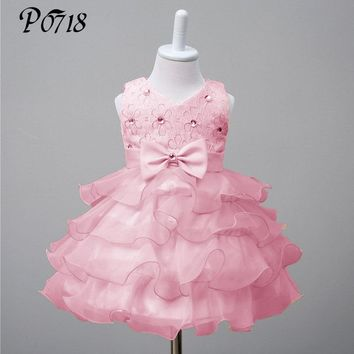 Baby Toddler Flower Girl Lace Dress 2018 Summer Newborn Girls Baptism 1 Year Birthday Party Dresses Infant Ball Gown Clothing