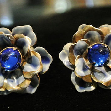 Cobalt Glass Earrings Antique Clip On Earrings Sterling Silver 1940s 40s High Fashion Earrings Wedding Bride Bridal Flower Floral Blue