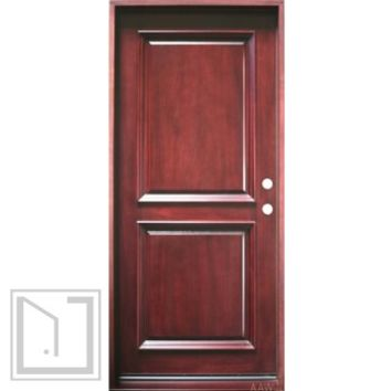 "2-Panel, Prehung and Prefinished Entry Door, 36""x80"", Mahogany"