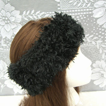 Fun Fur HEADBAND, Women's Headband, Teen earwarmer, Black Headwrap
