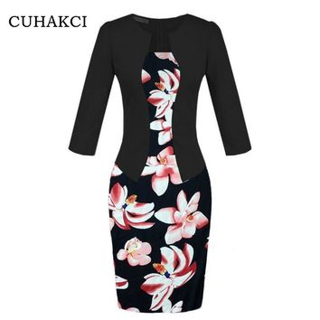 CUHAKCI Floral Print Women Fall One Piece Patchwork Elegant Business Party Formal Office Plus Size Bodycon Pencil Work Dresses