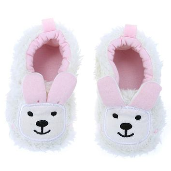 Cute Elephant Rabbit Baby Shoes Cartoon Animal Toddler Shoes Baby Boys Girls Coral Fleece Anti-slip Casual First Walker