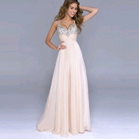 2015  Women Deep V-Neck  Sexy Strapless with Sequined Decoration  Backless Floor-Length Dress Pink Color = 1667935748