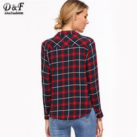 Korean Fashion Clothing Womens Tops and Blouses Fall Womans Clothes Burgundy Lapel Tartan Plaid Lace Up Blouse