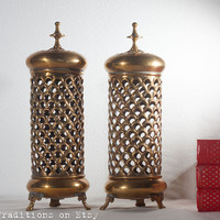Brass Moroccan Lanterns, Vintage Moroccan Lamps / Candle Holders Lantern, Hand Made Pierced Metal, Moroccan Home Decor, Oriental Style