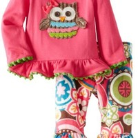 Mud Pie Baby-Girls Newborn Owl Minky Pant Set, Multi, 6-9 Months