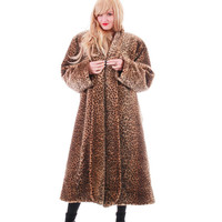 80s Leopard Faux Fur Coat Long Plush Animal Print Warm Winter Outerwear Plus Size Vintage Clothing Made in the USA Womens Size 2X 3X