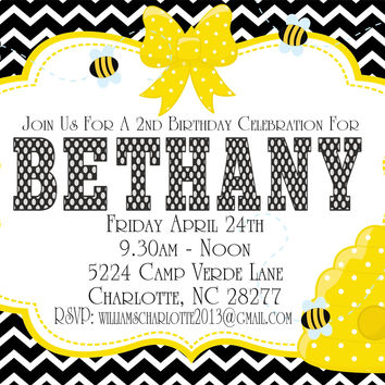 Chevron Bumble Bee Birthday Party Invitations