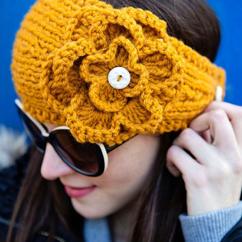 Mustard Headband with Gorgeous Crochet by BglorifiedBoutique