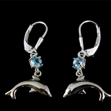 GENUINE BLUE TOPAZ SILVER 925 HAWAIIAN DOLPHIN DANGLE LEVERBACK EARRINGS RHODIUM