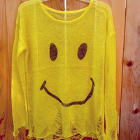 Awesome smiley face light weight shredded summer sweater yellow or beach cover