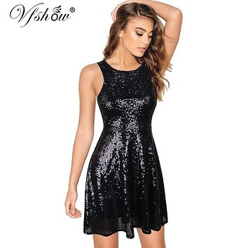 Vfshow Womens Backless Sexy Sequins Strappy Girls Ladies Party Club Homecoming Vestido Swing A-line Skater Mini Short Dress 6258