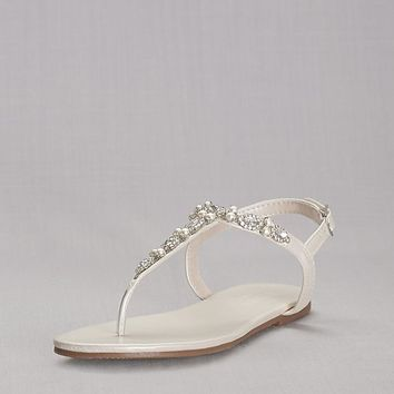 Pearl and Crystal T-Strap Sandals | David's Bridal