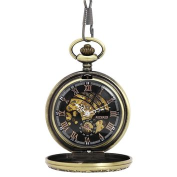 NICERIO Retro Bronze Skeleton Windup Steampunk Semi-Auto Mechanical Roman Numerals Pocket Watch with Fob Chain