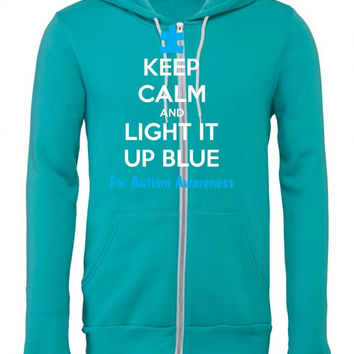 keep calm and light it up blue for autism awareness 1 Zipper Hoodie