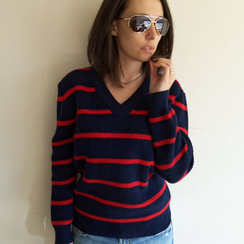 Vintage Mens Womens Oversized Blue and Red Striped Lacoste Preppy Knit Sweater