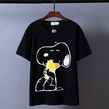 One-nice™ Snoopy Women Men Hot Fashion Print Short Sleeve T-shirt Top Couple Black