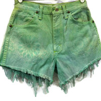 "Vintage HighWaisted Denim Cut Off Jean High Waisted Shorts Pastel Green Turquiose Tye Dye Denim ""Lace Wash"" Frayed Zip Fly"