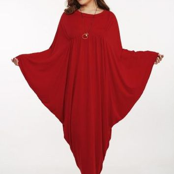 Plus Size Batwing Sleeve Women's Maxi Dress