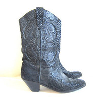 20% OFF SALE vintage leather cowboy boots / black faux snake skin boots / cowgirl boots / women's size 9 - 10