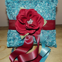 Turquoise and Wine Ring Bearer Pillow Wedding Pillow