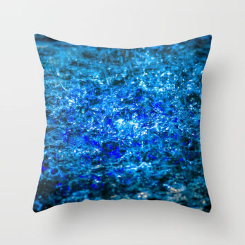 Water Color - Dark Blue - Navy Throw Pillow by digital2real