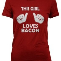 Kids This Girl Loves Bacon T-Shirt Funny Youth Shirt For Girls M