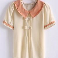Cute Peter Pan Collar Short Sleeve Chiffon Shirt - OASAP.com