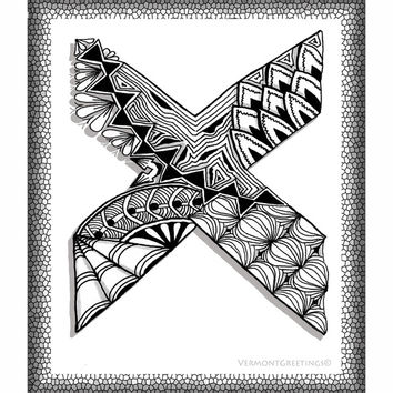 Zentangle X Monogram Alphabet Illustration Art Print by Vermont Greetings