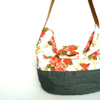Diapers bag / Floral canvas tote by LiduvinaDesign on Etsy